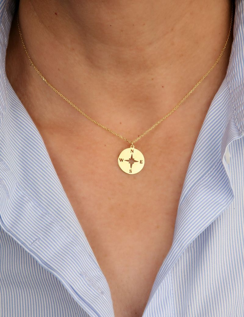 Compass rose necklace gold...